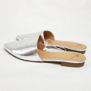 A New Day Silver Slip-On Pointy Toe Mules 7.5